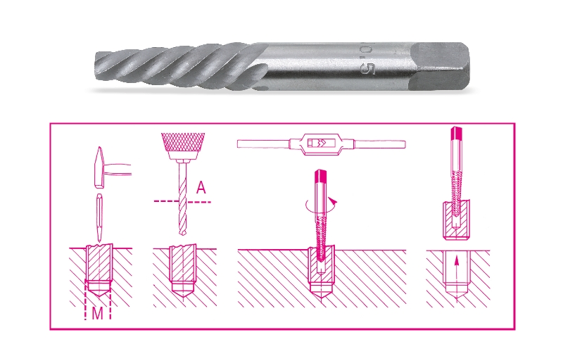 Tapered extractors for broken screws and studs made from hardened and tempered steel category image